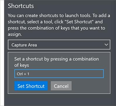 Parallels Toolbox Preferences 2 Click Set Shortcut and press the key combination you want to use to launch the