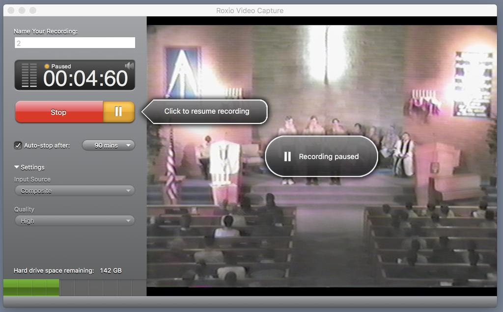 Optional Step - You can pause the recording and skip over parts of your video by clicking Pause on the screen and fast