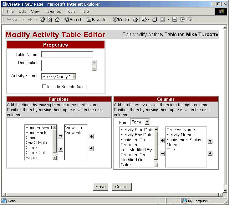 The activity search table instrument editor is a duplicate of the worklist table instrument editor other than the following differences. Properties 1.