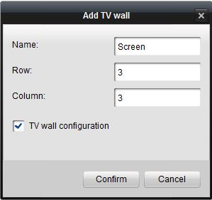 2. Create the name of the TV wall, and enter the row and column