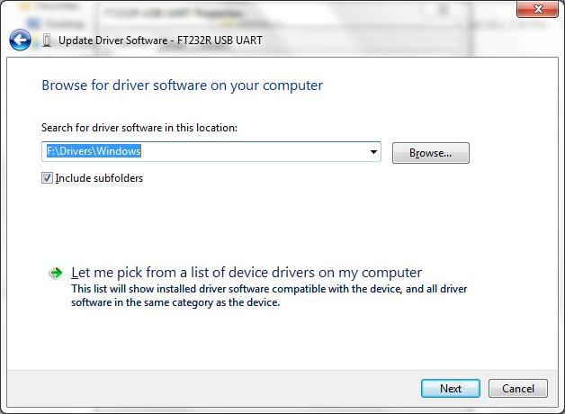 Select the Drivers\Windows folder of the volume where the installation CD is. Let the Include subfolders selected. 7.