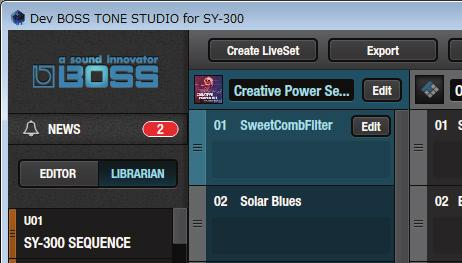 Click the [LIBRARIAN] button. You ll see a list of the livesets available on BOSS TONE CENTRAL, with explanations. 2.