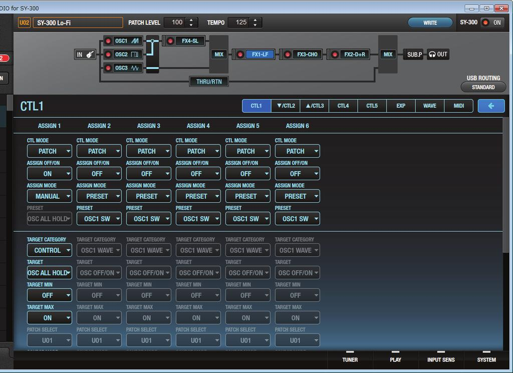 Editing the Controller Settings You can assign functions to a footswitch or expression pedal that