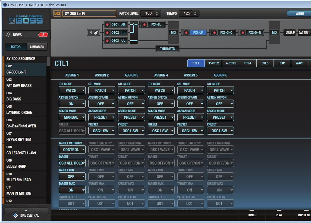 Saving All SY-300 Patches to TONE STUDIO (Backup) Here s how all of the SY-300 s patches can be