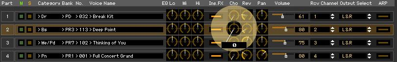 An Example of MOTIF XF Editor in Use: Mixing edit in the Song or Pattern mode 3. Edit the parameters of the Mixing and Voice assigned to each Part.