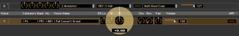 An Example of MOTIF XF Editor in Use: Editing in the Voice mode 5-4 Edit the Voice parameters as desired. Edit the parameters (EQ, chorus, reverb, etc.) in the V row by clicking them.