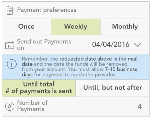 You can tap an individual payment to see more information. To add a new payment, tap the plus sign (upper right).