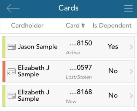 If your card is marked as lost/stolen, you will see the card status change on the cards screen as shown below: