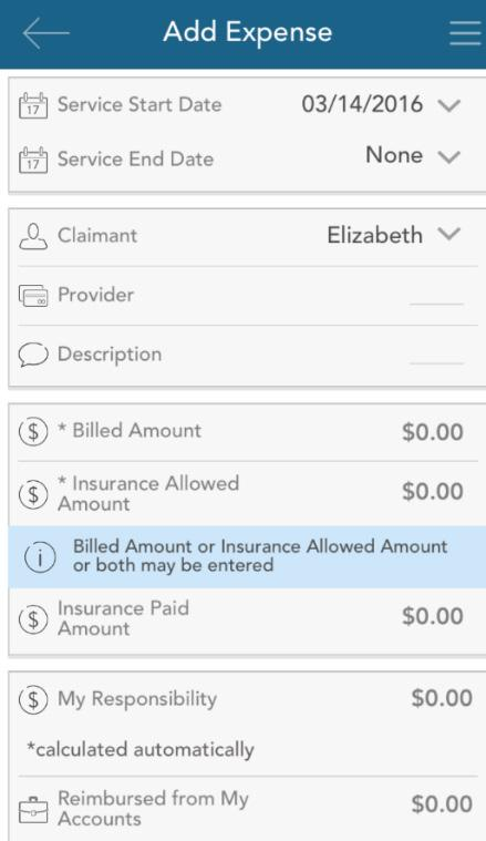 Add an expense Similar to submit a claim, when choosing add an expense, a form will display,