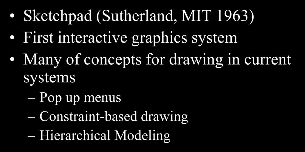 Drawing: Sketchpad (1963) Sketchpad (Sutherland,