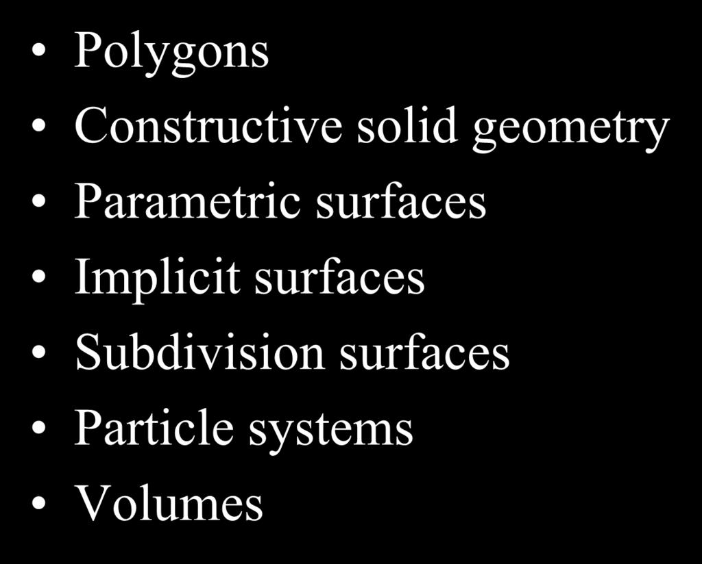 Modeling Polygons Constructive solid geometry Parametric