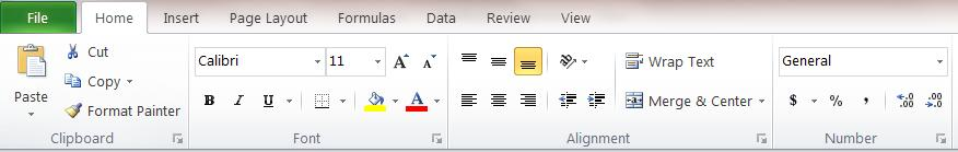 4 Tabs FILE TAB When you left-click on the File tab, the File menu will appear. This menu is one of the most important menus within MS Excel 2010.
