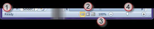 Status Bar The File tab, Quick Access Toolbar, Ribbon, and the Workbook Area all reside in