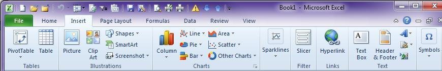 The Insert tab contains groups that enable quick insertion of objects such as Tables, Charts, and Pictures.