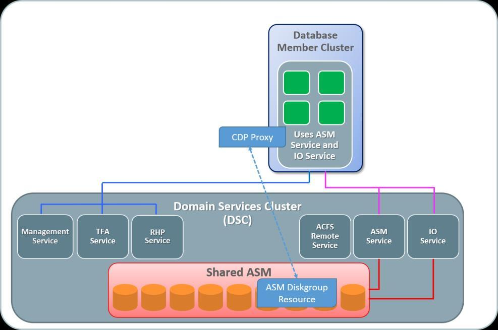The default deployment in Oracle Clusterware 18c applies to Cluster Domains and the Database Member Clusters that access the ASM-managed storage on the Domain Services Cluster.