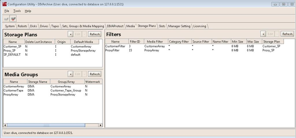 Storage Plans GUI The storage plans are created using the Configuration Utility.
