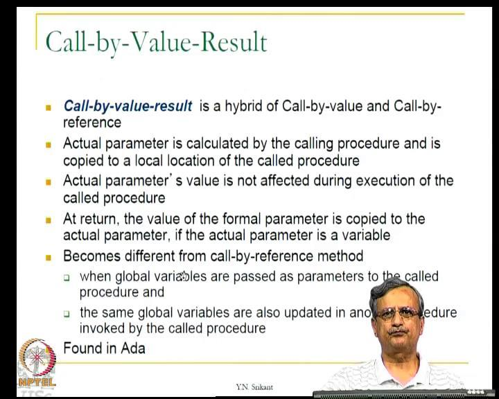 (Refer Slide Time: 43:53) So, this is possible in C plus plus and java of course, then we have the third method of passing parameters known as call by value result, this is really a hybrid of call by