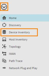 Scenario 1. Cisco APIC Enterprise Module Overview Steps 1. From the APIC-EM homepage, click on the arrow in the upper left and select Device Inventory from the menu. Figure 2. Device Inventory 2.