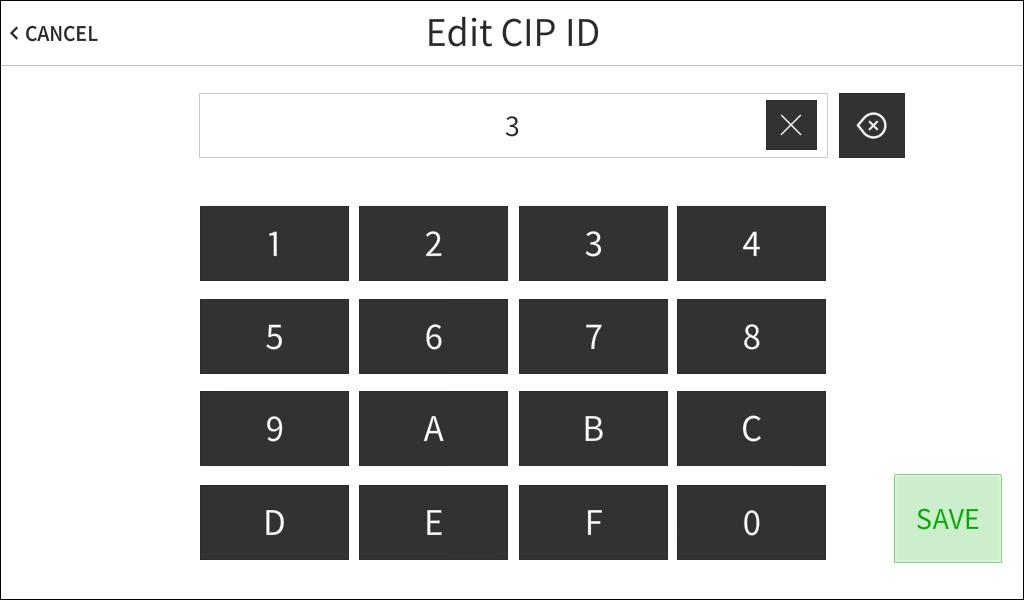 On the Ethernet Setup - Edit IP Table screen, tap the text field belw CIP ID t display the n-screen hex keypad.
