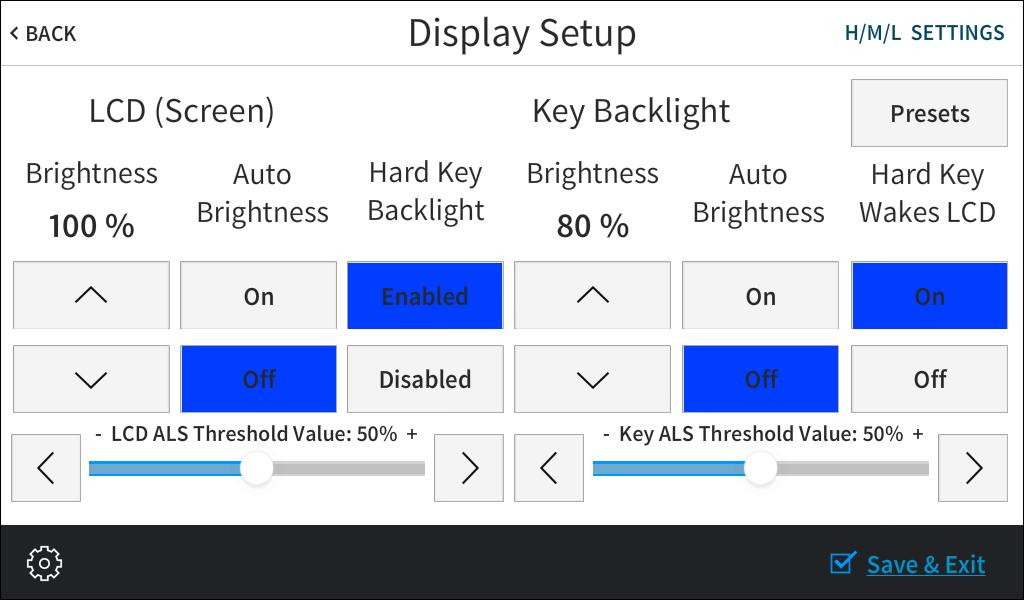 Display Setup On the Setup screen, tap Display Setup t display the Display Setup screen. Display Setup Screen Use the Display Setup screen t adjust the LCD display and the key backlight settings.