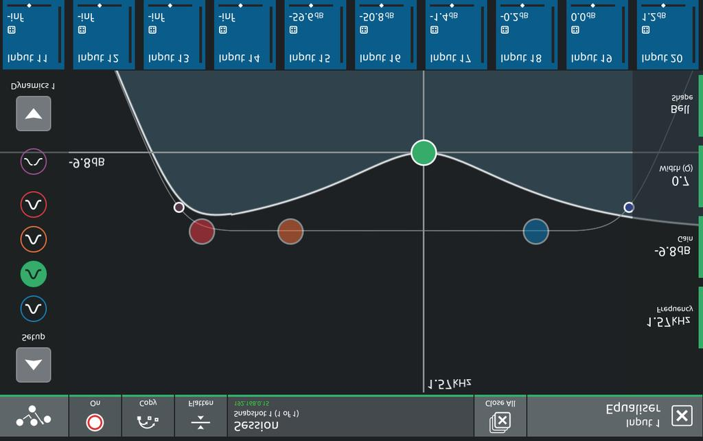 1.3.5 EQ View... Touching the EQ area on either the Channel view or the Channel Setup will open the EQ expanded view.