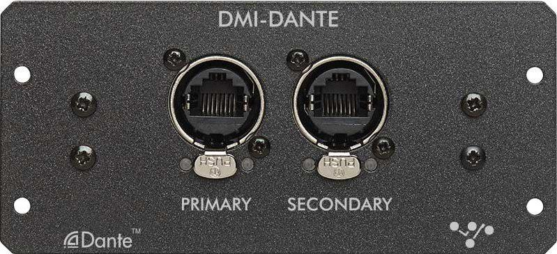 2.3 DMI-DANTE Cards A DMI-Dante card in S21 provides 64 input and 64 output channels at 48KHz and 32 input and 32 output channels at 96KHz.