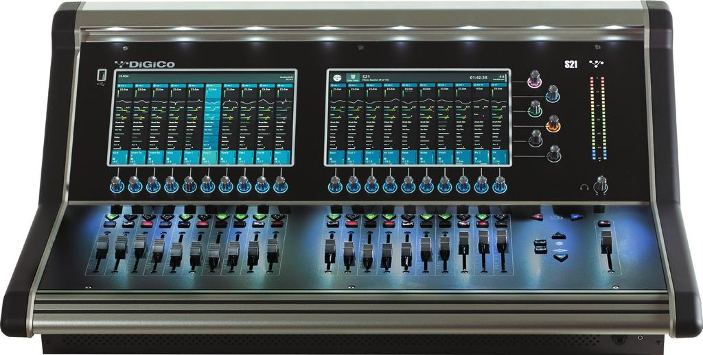 1.1 The Console The Digico S21 consists of a worksurface, an audio engine and a range of onboard inputs and outputs.