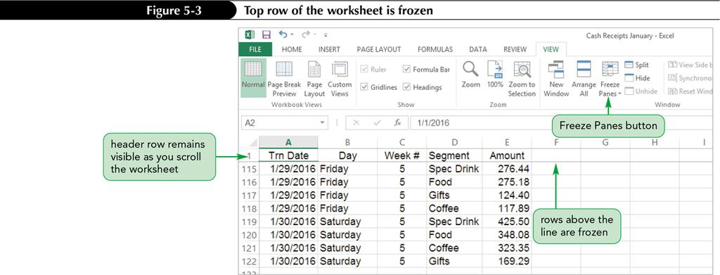 Freezing Rows and Columns Freezing a row or column keeps