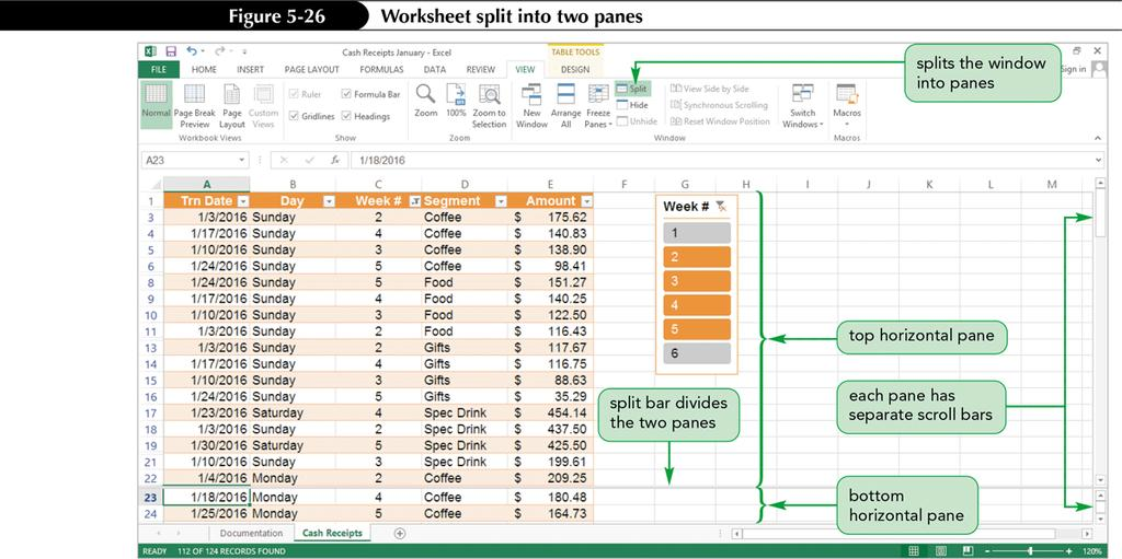 Splitting the Worksheet Window into Panes Easily view