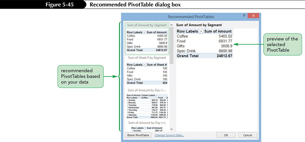 Creating a Recommended PivotTable The Recommended PivotTables dialog box previews PivotTables based