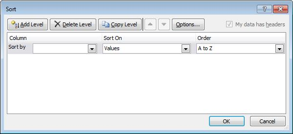 Sorting Records Microsoft Excel 2010 Introduction Select any Field Name. Then use: Data Ribbon: Note: The Sort dialog box can also be accessed from the Filter drop down menus.