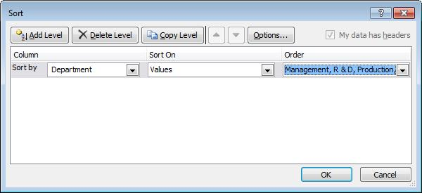 Introduction Microsoft Excel 2010 Sorting Records Sorting into List Order Open the Sort dialog box (described earlier).