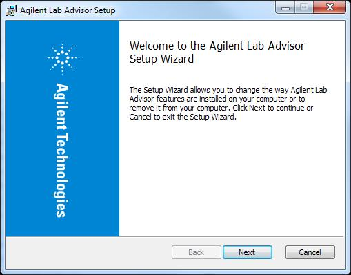 NOTE The Lab Advisor Setup Wizard selects the Lab Advisor language automatically depending on the language setting of your operating
