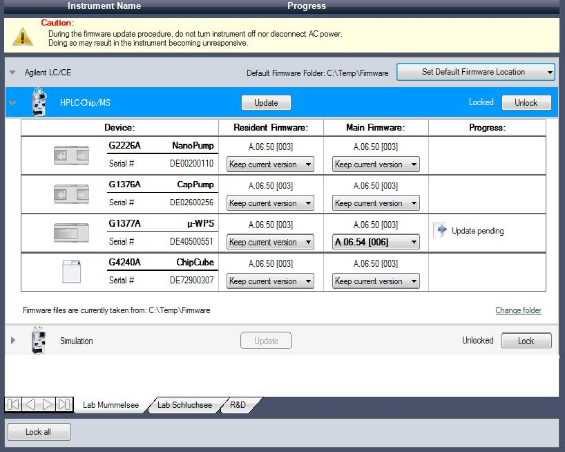 Using Lab Advisor 3 Firmware Update Figure 7