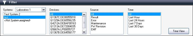 Multiple selections are supported for Devices and Source, and can be selected by keeping Ctrl pressed while clicking the data required in the