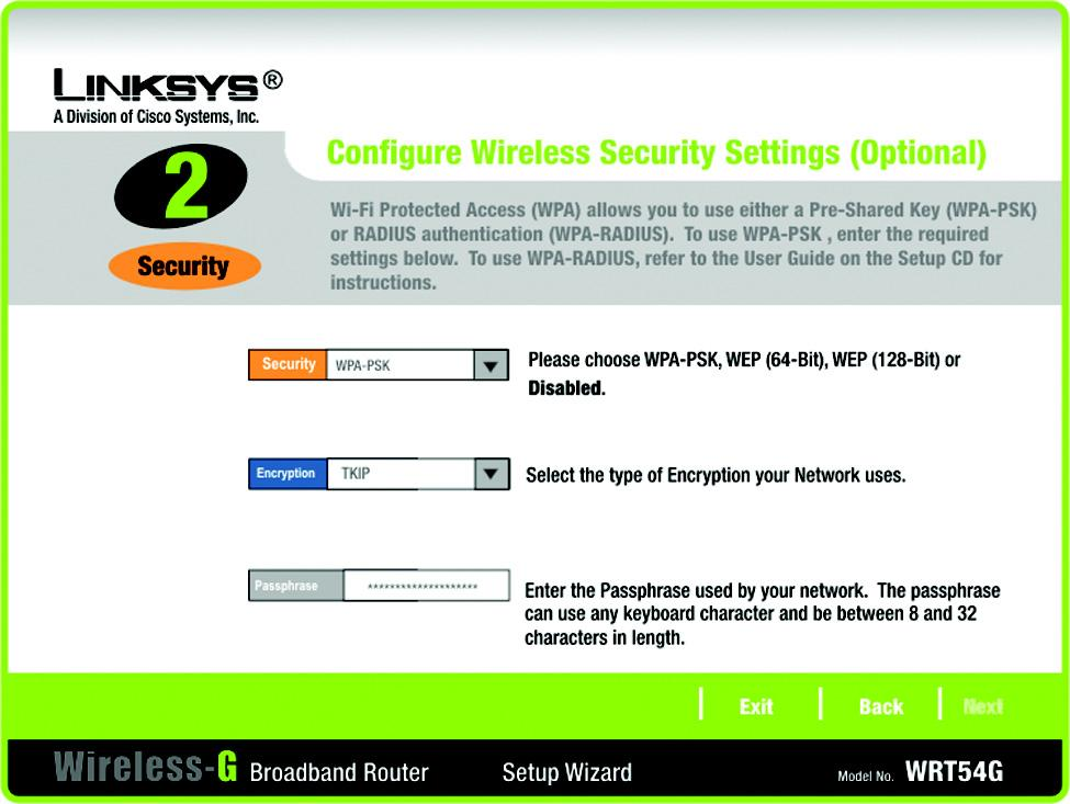 3. Select the method of security you want to use: WPA-PSK (also called WPA-Personal), WEP (64-Bit), or WEP (128-Bit).