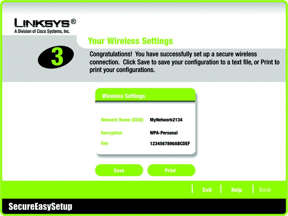 4. The Your Wireless Settings screen will appear when the wireless settings have been configured. To save your configuration settings to a text file on your computer, click the Save button.