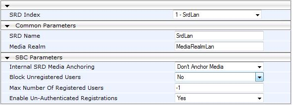 Deployment Guide 4. SBC Configuration Examples 4.2.4 Step 4: Add SRDs for LAN and WAN The example scenario uses two SRDs on the single, logical LAN interface.