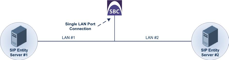 SBC Architecture Options & Configuration Examples Topology: E-SBC Logical Network Interface Connection: The E-SBC communicates with the SIP entity servers using a single IP network interface.