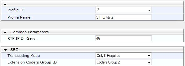 Deployment Guide 4. SBC Configuration Examples 4.3.7.2 Step 2: Add IP Profiles for SIP Entities For each SIP entity server, you need to add an IP Profile configured with the required voice coder (i.e., Coder Group) that you previously added.