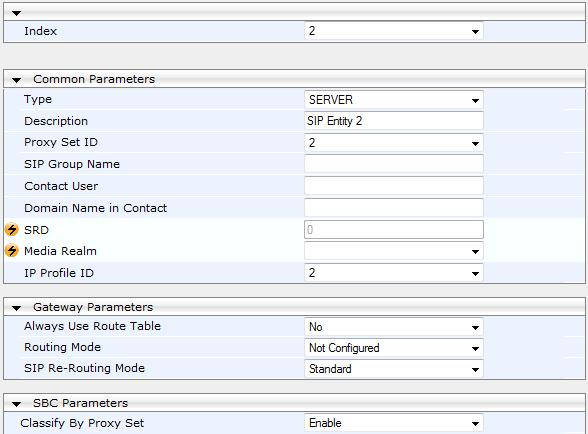 Select index 2 (the IP Group of SIP Entity Server #2), and then set the following: Profile ID: 2
