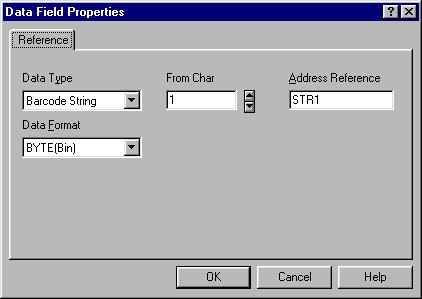 Figure 3 The Define Field dialog box For the Barcode String and the Memory Buffer data types, it is possible to select ASCII as display format. 4.