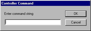 Figure 5 Data entry dialog box for entering command string Generally, the command string will be sent to the Barcode Scanner exactly as it is typed in this dialog box.