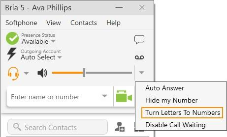 Audio and video calls Changing letters to numbers NOTE: Your system administrator may have set up a dial plan to select the correct dial out account. Contact your system administrator for details.