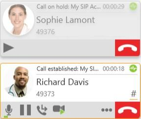 Audio and video calls Conference calls Bria 5 displays a call panel for each