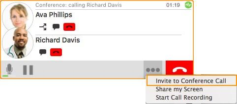 Enter name or number field at the bottom of the call panel and click Add.