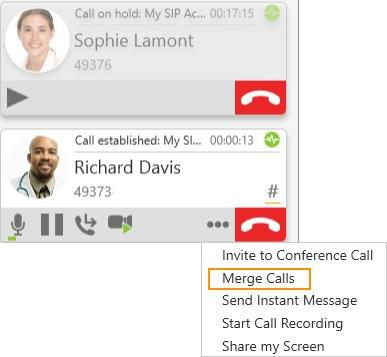 Audio and video calls Conference calls 1. Establish the calls you want to merge. 2.