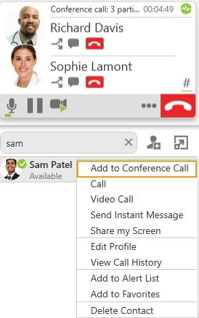 Audio and video calls Conference calls 3. Choose Add to Conference Call.