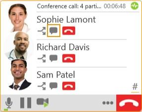 On an established conference call, click Send Instant Message beside the name of the