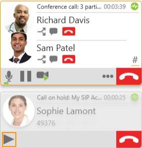 Audio and video calls Conference calls 2. Click Take this call off hold at the bottom of the new call panel.